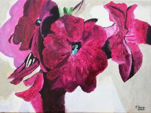 Elena Casero (11 años) – Petunias (1927) de Georgia O'Keeffe