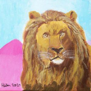 """Héctor Lara (9 años) – Retrato de león, """"El Cid"""" (1879) de Rosa Bonheur"""