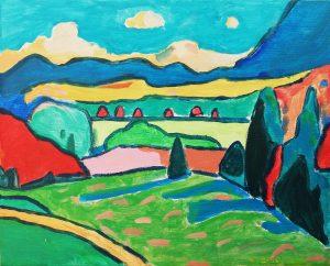 Noelia Vélez (8 años) – Paisaje con nubes (1908) de Gabriele Münter